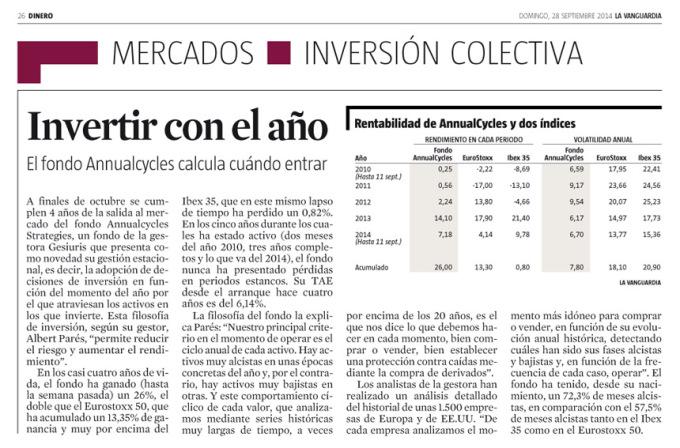 Invertir Con El Ciclo – Art. La Vanguardia – DINERO 28-9-2014